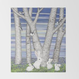nuthatches, bunnies, and birches Throw Blanket