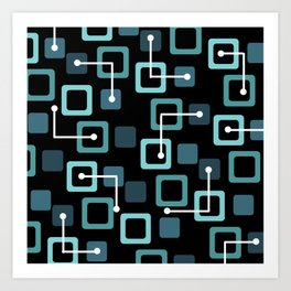 Midcentury 1950s Tiles & Squares Black Turquoise Art Print