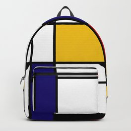 Primary Colors Geometric Pattern Fabric - Mondrian Fabric - Bauhaus Style Lines Home Decor Cotton Backpack