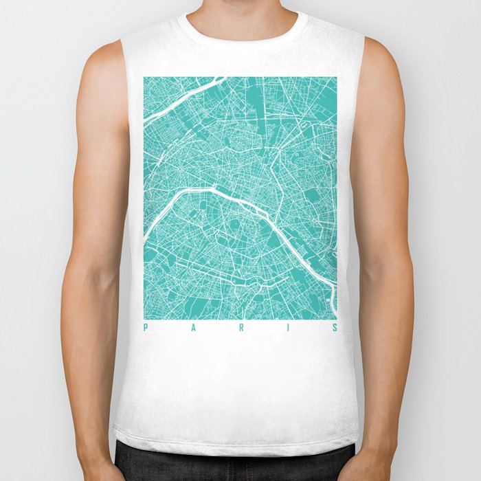 Paris map turquoise Biker Tank
