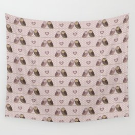 Owls in love (pink) Wall Tapestry