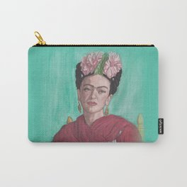 Watercolor Painting Pencil Drawing of Frida Kahlo, Sitting, with Red Shawl and Pink Flowers Carry-All Pouch