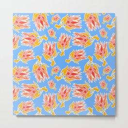 Australian Native Floral Pattern - King Protea Metal Print