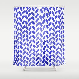 Cute watercolor knitting pattern - blue Shower Curtain