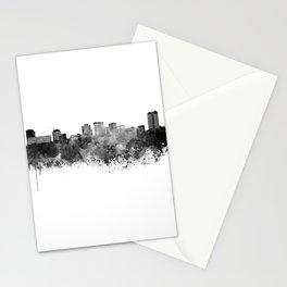 Norfolk skyline in black watercolor Stationery Cards