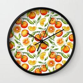 orange print citrus oranges watercolor Wall Clock