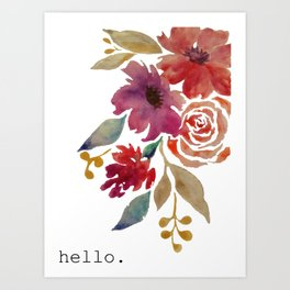 Watercolor hello. Art Print