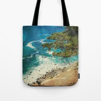 big sur Tote Bags featuring Big Sur - Sapphire Shore by Jenndalyn