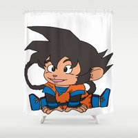 goku Shower Curtains featuring Monkey Goku by Kame Nico