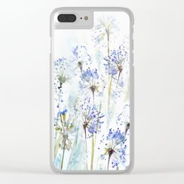 Blue summer flowers watercolor sketch 2 Clear iPhone Case