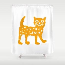 Orange cat illustration, cat pattern Shower Curtain