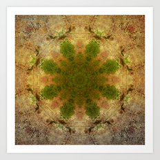 Green Flower Fossil Art Print