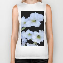 White Garden Petunia Flowers On Black Art Biker Tank