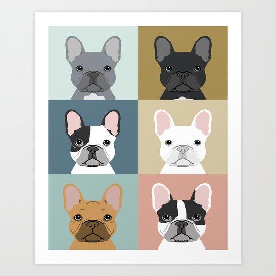 French Bulldog portraits pattern dog person gift love animal pet puppy frenchie bulldog valentines Art Print