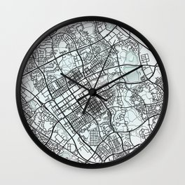 Milton Keynes, England, White, City, Map Wall Clock