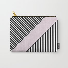 Chic black white baby pink trendy stripes Carry-All Pouch