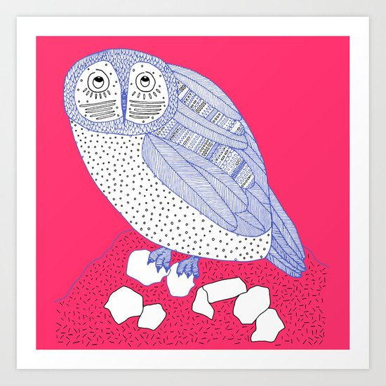 pink and blue owl square Art Print