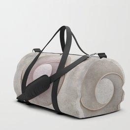 Geometrical Line Art Circle Distressed Rosegold Duffle Bag