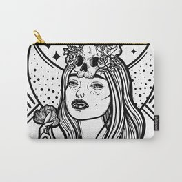 Lady Death. Pretty woman with flower and skull Carry-All Pouch