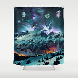 Time in Planet Kepler - Fantasy Mountains and Kepler Planets Painted Effect Shower Curtain
