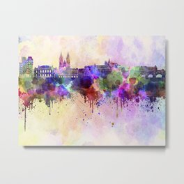 Prague skyline in watercolor background Metal Print