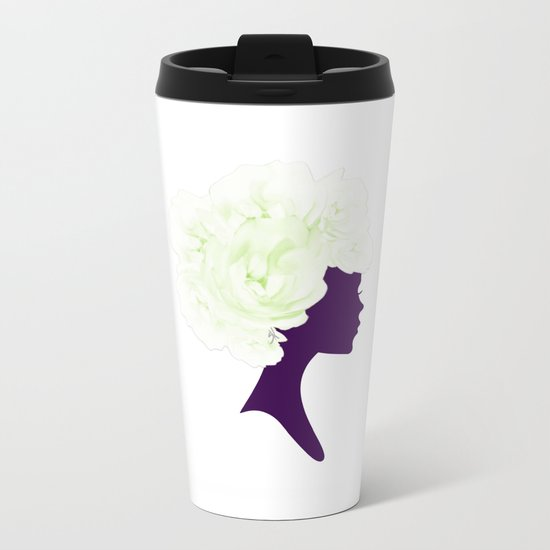 Rose Silhouette Metal Travel Mug