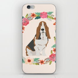 basset hound floral wreath dog gifts pet portraits iPhone Skin