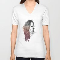 rihanna V-neck T-shirts featuring Rihanna by Coolrista