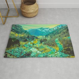 Mountain Village Landscape Low Poly Geometric Triangles Rug