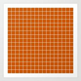 Burnt orange - orange color - White Lines Grid Pattern Art Print