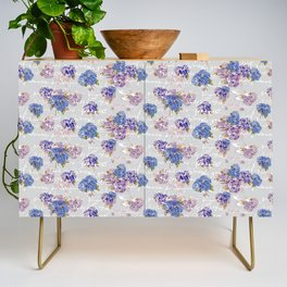 Hydrangeas and French Script with birds on gray background Credenza