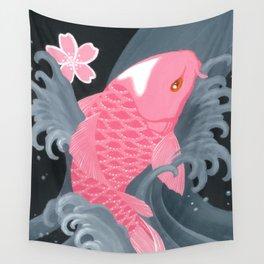 Love Koi Pastel Pink Wall Tapestry