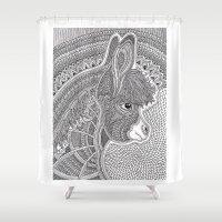 donkey Shower Curtains featuring Donkey by Olya Goloveshkina