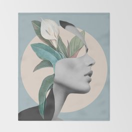 Floral Portrait /collage Throw Blanket