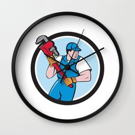 Plumber Holding Pipe Wrench Circle Cartoon Wall Clock