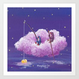 Penguins Sail Through the Stars on Their Cloud of Love Art Print
