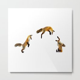 Fox Snow Jump Metal Print