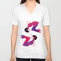 60s V-neck T-shirts featuring 60s Zodiac Gals: Gemini by Skart87