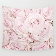 Roses have thorns- Pink Rose Flowers Wall Tapestry