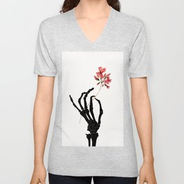 Skeleton Hand with Flower Unisex V-Neck