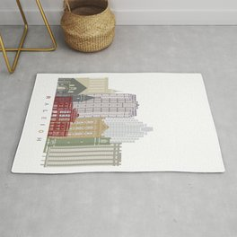 Raleigh skyline in watercolor Rug