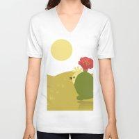 desert V-neck T-shirts featuring Desert by aleksander1