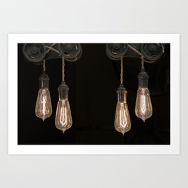 Industrial Vintage Light Bulbs Hanging from Pulleys Art Print