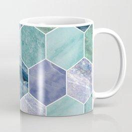 Mixed greens & blues - marble hexagons Coffee Mug