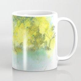 Falling Leaves in Golden Blue Coffee Mug
