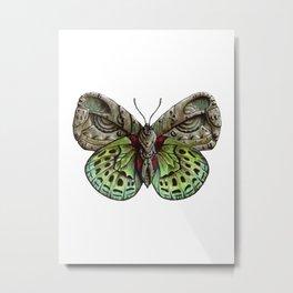 Green steampunk butterfly Metal Print