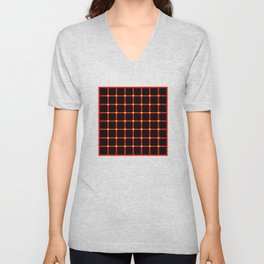Composition of red vertical and horizontal lines with moving dots illusion Unisex V-Neck