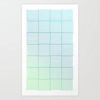 Woven Squares in Blue and Green Art Print