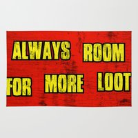 borderlands Area & Throw Rugs featuring ALWAYS ROOM FOR MORE LOOT by Resistance