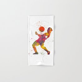 Soccer player isolated 08 in watercolor Hand & Bath Towel